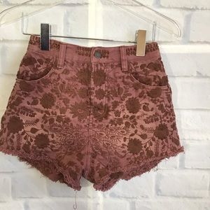 Free People Mauve Embroidered High Waist Shorts